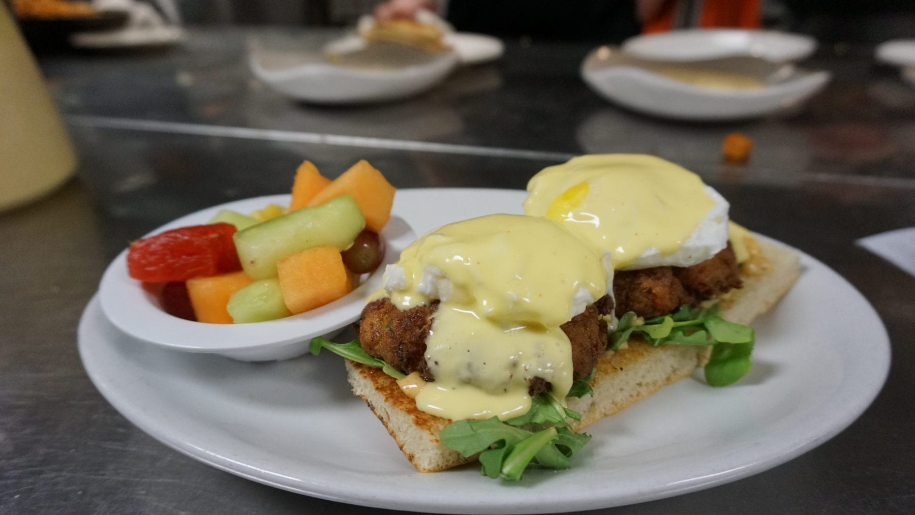 Crab cakes with poached eggs